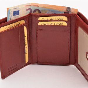 Peňaženka červená, zapínacia prešívaná