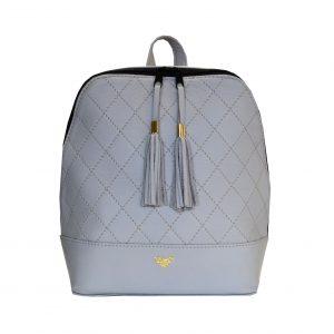 Štýlový dámsky kožený ruksak z prírodnej kože v šedej farbe