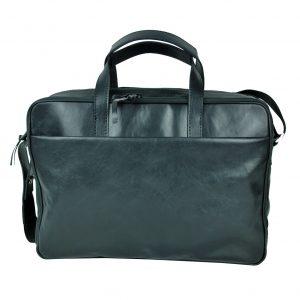 Kožená taška na notebook v čiernej farbe
