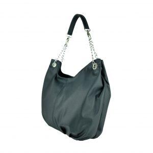 Dámska štýlová kožená kabelka v čiernej farbe