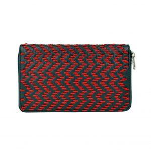 Dámska kožená peňaženka ručne vyšívaná, červené vyšívanie