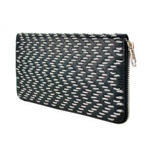 Dámska kožená peňaženka ručne vyšívaná, šedé vyšívanie