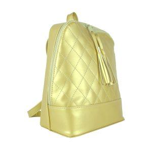 Dámsky kožený ruksak zo syntetickej kože v zlatej farbe