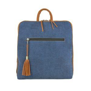 Dámsky ruksak z talianskej prírodnej hovädzej kože, imitácia rifloviny, tehlová