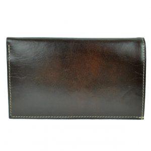 Elegantná kožená dokladovka v tmavo hnedej farbe