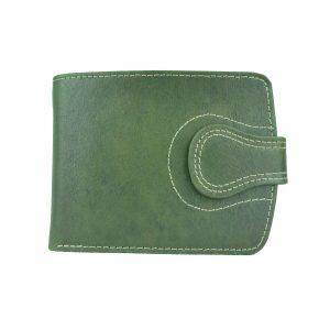 Elegantná kožená peňaženka v zelenej farbe, ručne tamponovaná