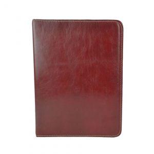Elegantná kožená spisovka v bordovej farbe