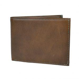 Elegantná peňaženka z pravej kože v hnedej farbe, ručne tamponovaná