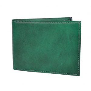 Elegantná peňaženka z pravej kože v tmavo zelenej farbe, ručne tamponovaná