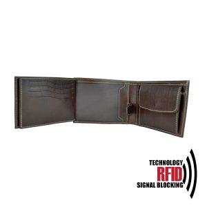 Kožená RFID peňaženka vybavená blokáciou RFID / NFC, hnedá farba