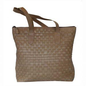 Exkluzívna pletená kožená kabelka v bežovej farbe