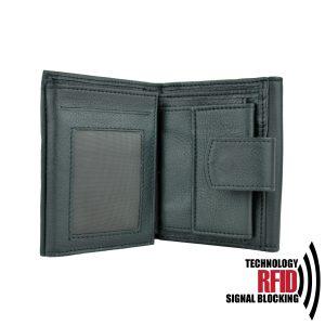 Kožená RFID peňaženka vybavená blokáciou RFID / NFC, čierna farba