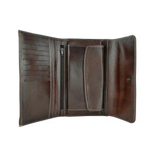 Kožená dámska peňaženka v tmavo hnedej farbe