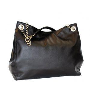 Kožená elegantná kabelka v čiernej farbe