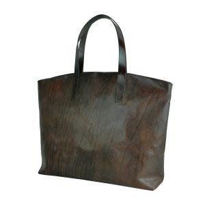 Kožená kabelka veľká na plece SHOPPER BAG, ručne farbená, tmavo hnedá