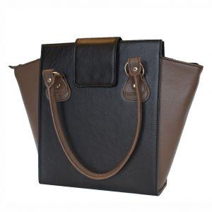 Kožená luxusná kabelka v čierno hnedej farbe
