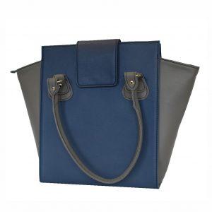 Kožená luxusná kabelka v modro šedej farbe