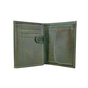 Kožená peňaženka v tmavo zelenej farbe, ručne tieňovaná