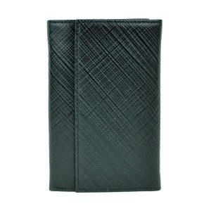 Kožená peňaženka s mriežkovaným dekorom v čiernej farbe