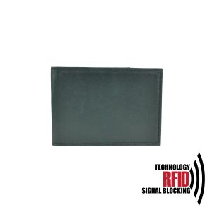 Kožené RFID púzdro vybavené blokáciou RFID / NFC v čiernej farbe