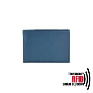 Kožené RFID púzdro vybavené blokáciou RFID / NFC v modrej farbe