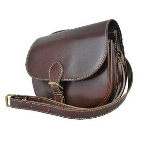 Lovecká kožená kabelka v hnedej farbe
