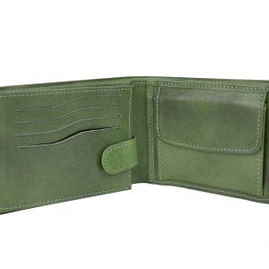 Elegantná peňaženka z pravej kože v zelenej farbe, ručne tamponovaná