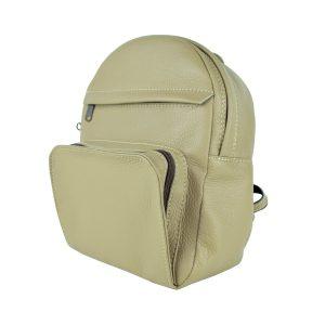 Kožený batoh z prírodnej kože, khaki farba