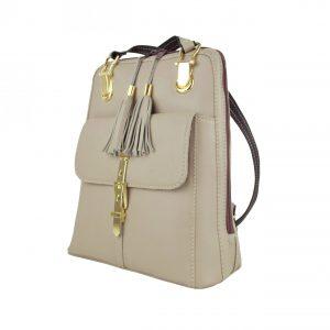 Moderný dámsky kožený ruksak z prírodnej kože v bežovej farbe