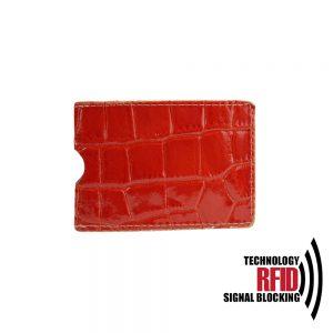 Kožené RFID púzdro vybavené blokáciou RFID / NFC, červená farba