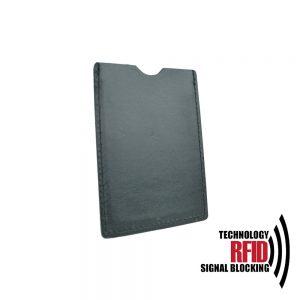 Kožené RFID púzdro vybavené blokáciou RFID / NFC, čierna farba