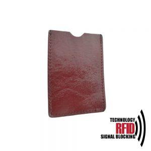 Kožené RFID púzdro vybavené blokáciou RFID / NFC, bordová farba
