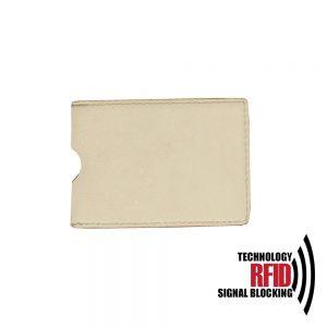Kožené RFID púzdro vybavené blokáciou RFID / NFC, krémová farba