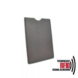 Kožené RFID púzdro vybavené blokáciou RFID / NFC, tmavo hnedá farba