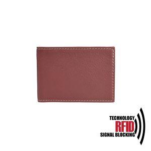 Kožené RFID púzdro vybavené blokáciou RFID / NFC v červenej farbe