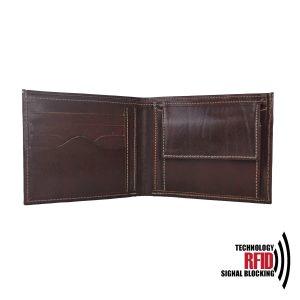 Kožená RFID peňaženka vybavená blokáciou RFID / NFC, tmavo hnedá farba