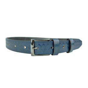 Opasok z prírodnej kože v modrej farbe, 3cm, ručný dezén a farbenie