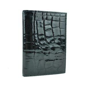 Púzdro na doklady z pravej prírodnej kože v lesklej čiernej farbe, vzor hadina