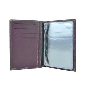 Púzdro na doklady z pravej prírodnej kože vo fialovej farbe