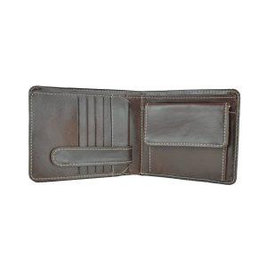 Peňaženka z prírodnej kože v tmavo hnedej farbe, ručne tamponovaná