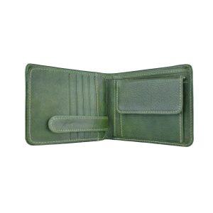 Peňaženka z prírodnej kože v zelenej farbe, ručne tamponovaná