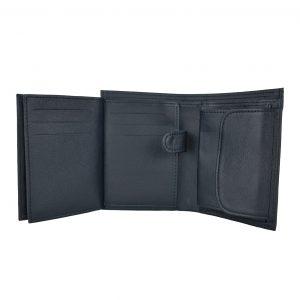Kožená peňaženka z hrubkovanej kože v čiernej farbe