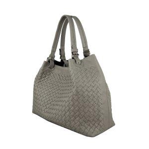 Ručne pletená kabelka z hovädzej usne v talianskom štýle v béžovej farbe