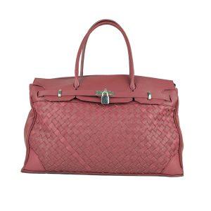 Ručne pletená kabelka z hovädzej usne v talianskom štýle v bordovej farbe