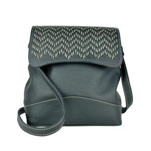 Ručne vyšívaná kožená kabelka v čiernej farbe s béžovým prešívaním