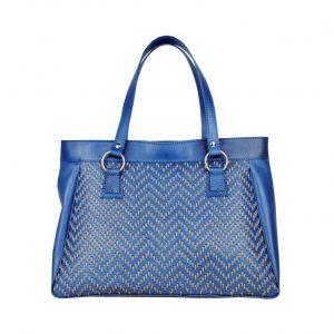 Ručne vyšívaná modrá kabelka z pravej kože – šedé vyšívanie