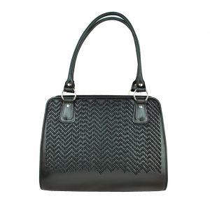 Ručne vyšívaná pracovná kabelka z pravej kože v čiernej farbe