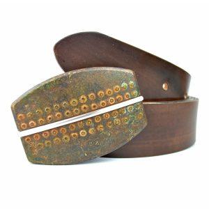 Ručne farebný kožený opasok Rusty, 4cm, Mahagon