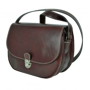 Rustikálna kožená kabelka, hnedá farba