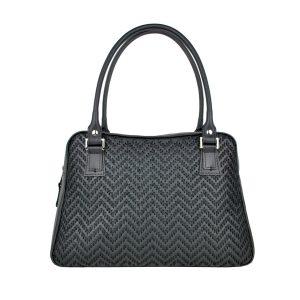 Ručne vyšívaná kabelka z pravej kože v čiernej farbe – čierne vyšívanie